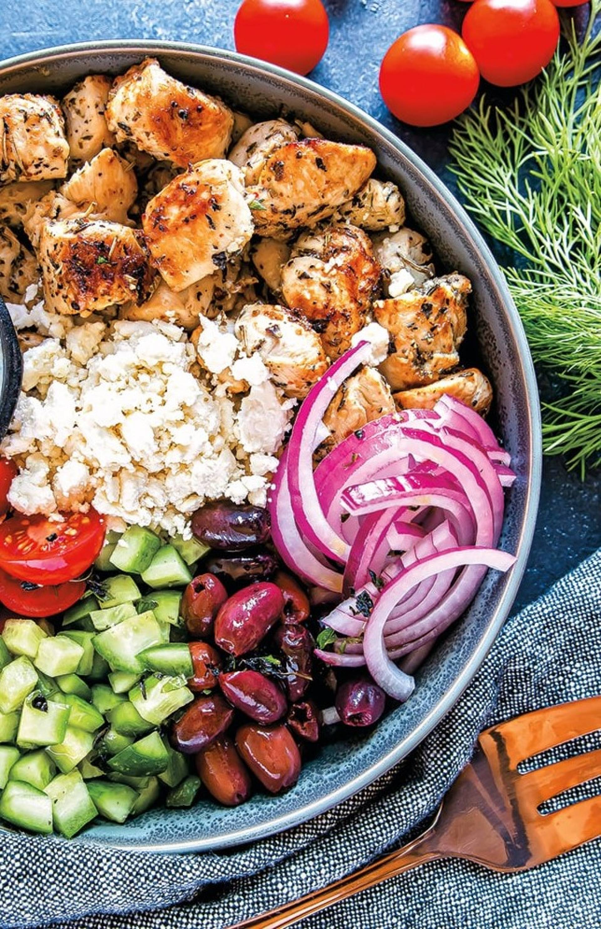 Greek Quinoa Grain Bowl with Chicken