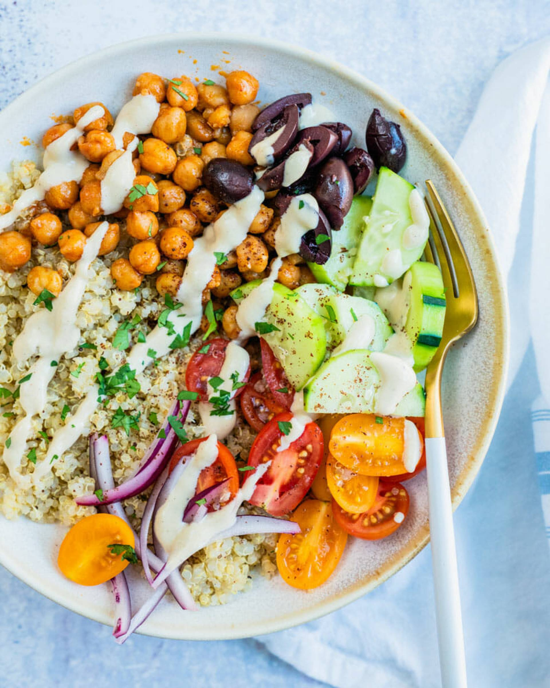 Greek Grain Bowl with Prawns