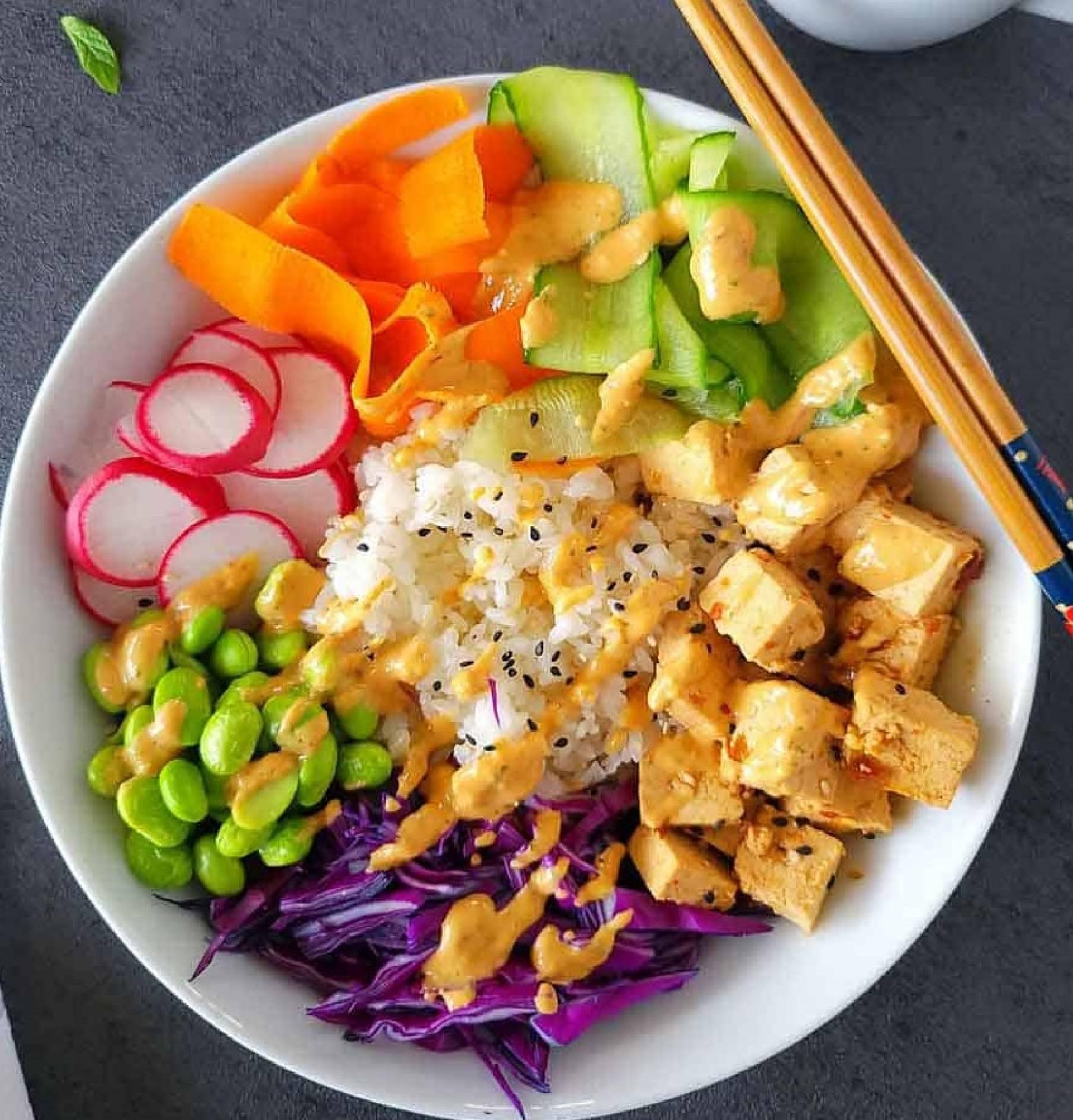 Asian Style Tofu Rice Bowl